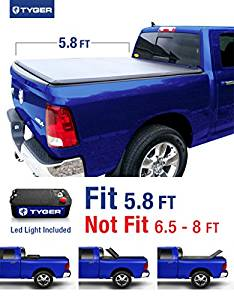 Tyger auto tg-bc3d1015 tri-fold truck bed tonneau cover 2009-2018 dodge ram 1500 without ram box | fleetside 5.8' bed