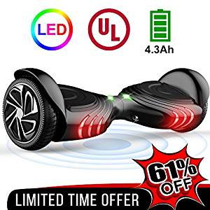 "Tomoloo hoverboard with led light, two-wheel self-balancing scooter with ul2272 certified, 6.5"" wheel electric scooter for kids and adult"