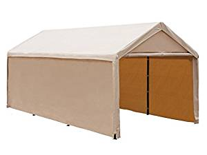Abba Patio 10 x 20 ft Heavy Duty Beige Carport, Car Canopy Versatile Shelter with Sidewalls