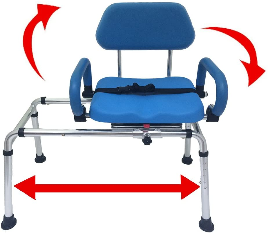 Carousel Sliding Transfer Bench with Swivel Seat for Bath and Shower