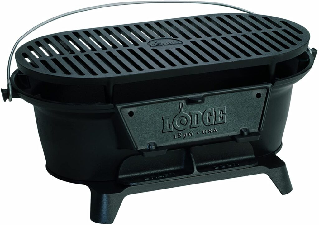 Best Portable: Lodge Sportsman Grill for Camping